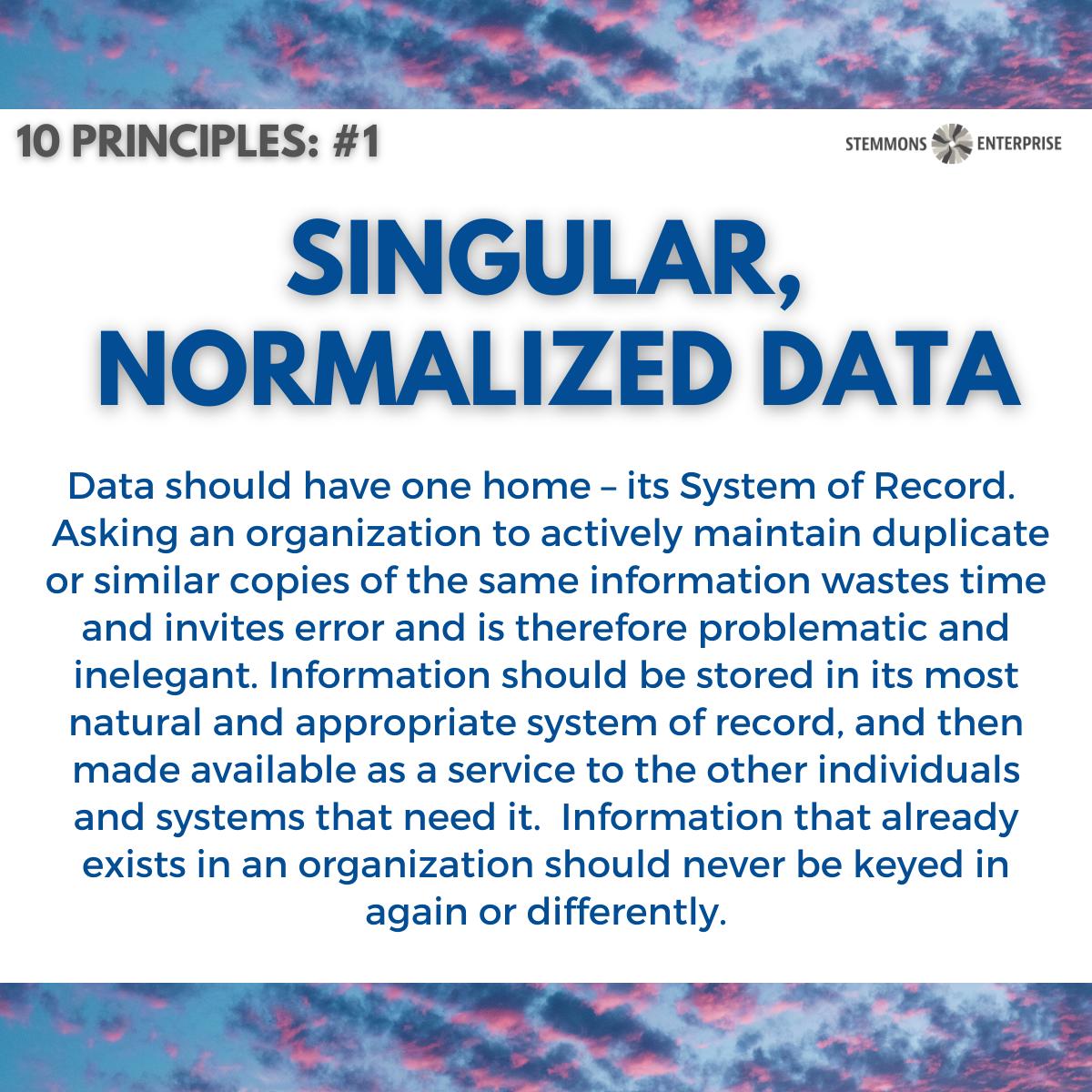 Singular, Normalized Data